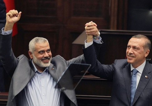 Turkey's Prime Minister Recep Tayyip Erdogan and Hamas Prime Minister Ismail Haniyeh / AP
