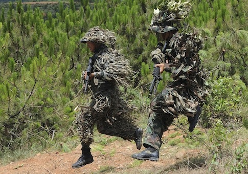 PLA snipers take part in a drill / AP
