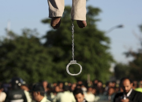 Man being hung near Tehran, Iran / AP
