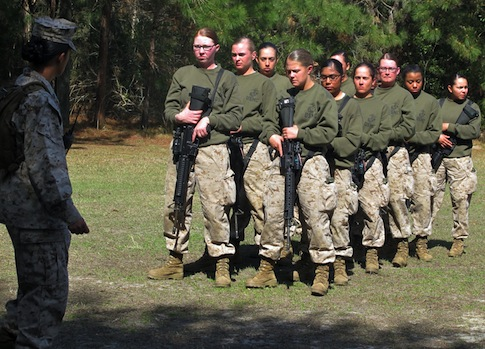 Female recruits at the Marine Corps Training Depot on Parris Island, S.C. / AP
