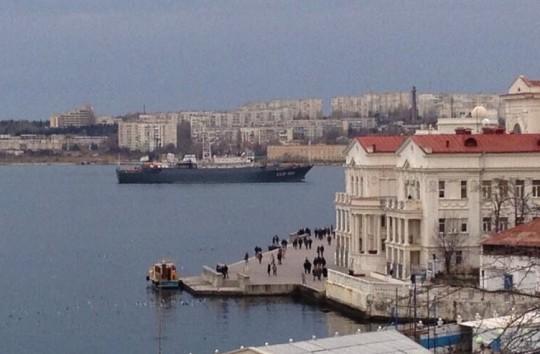 A Russian Vishnya-class intelligence-gathering ship arrived in the Crimean port of Sevastopol on Saturday. (Twitter)