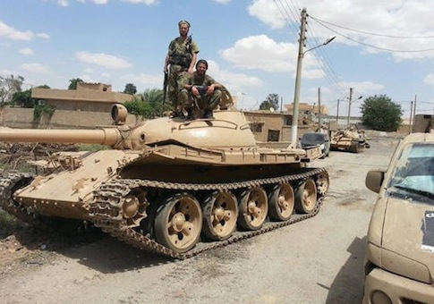A captured Iraqi T-55 tank in Syria via ISIL social media