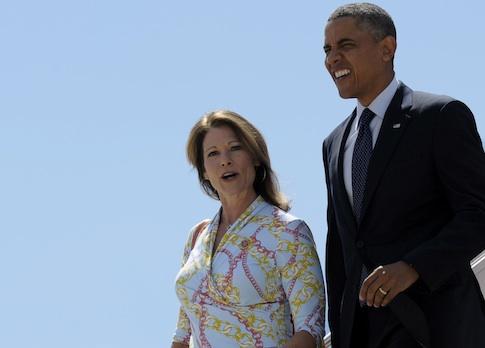 Rep. Cheri Bustos (D., Ill.) with President Barack Obama / AP