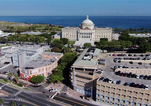 This Jan. 28, 2015 photo shows an aerial view of the south side of the Puerto Rico's Capitol building in San Juan, Puerto Rico