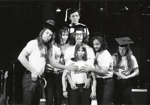 Garry Goodrow, Peter Elbling, Chevy Chase, Christopher Guest, John Belushi, Mary-Jennifer Mitchell and Alice Peyton in DRUNK STONED BRILLIANT DEAD: THE STORY OF THE NATIONAL LAMPOON / National Lampoon