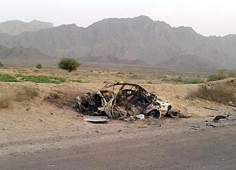 Destroyed vehicle of Mullah Mohammed Akhtar Mansour