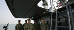 U.S. Navy sailors aboard American military ship docked in Manama, Bahrain / AP