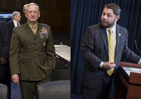 Retired Marine Gen. James Mattis and Rep. Ruben Gallego (D., Ariz.) / AP