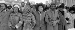 Alveda King, center, participates in a march in honor of Martin Luther King Jr.'s birthday in 1985 / AP