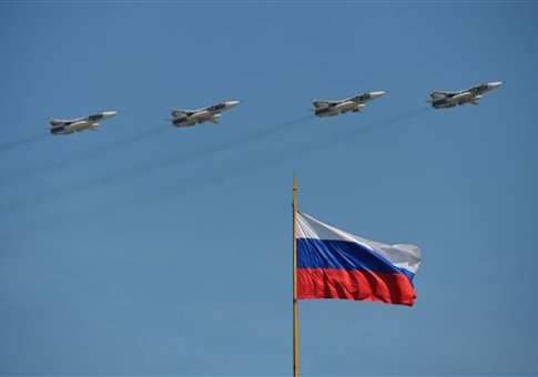 Su-24M frontline bombers take part in the military parade in Moscow