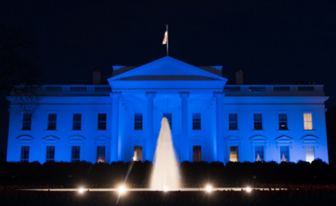 Trump white house to be lit blue in honor of peace for Blue and white house