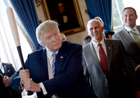 "President Donald Trump swings a Marucci baseball bat in the Blue Room during a ""Made in America"" product showcase event at the White House"