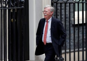 FILE PHOTO: U.S. National Security Advisor John Bolton arrives for a meeting with Britain's Chancellor of the Exchequer Sajid Javid at Downing Street in London