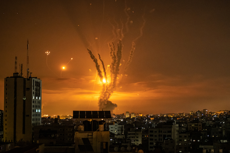 A photograph shows rockets launched towards Israel from the northern Gaza Strip / Getty Images